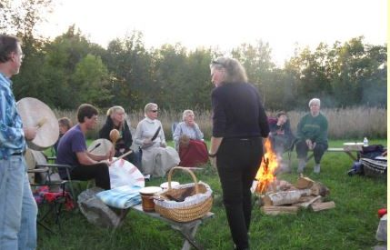Drumming at the KYWC stone circle