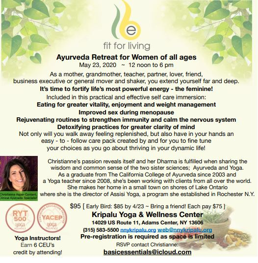 women's ayurveda retreat at kripalu nny